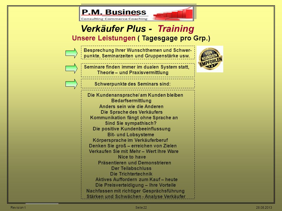 Verkäufer Plus - Training