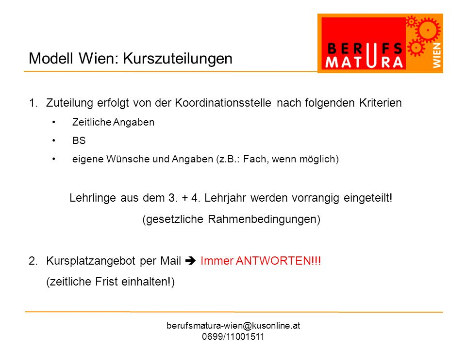 Modell Wien: Kurszuteilungen