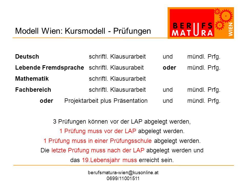 Modell Wien: Kursmodell - Prüfungen