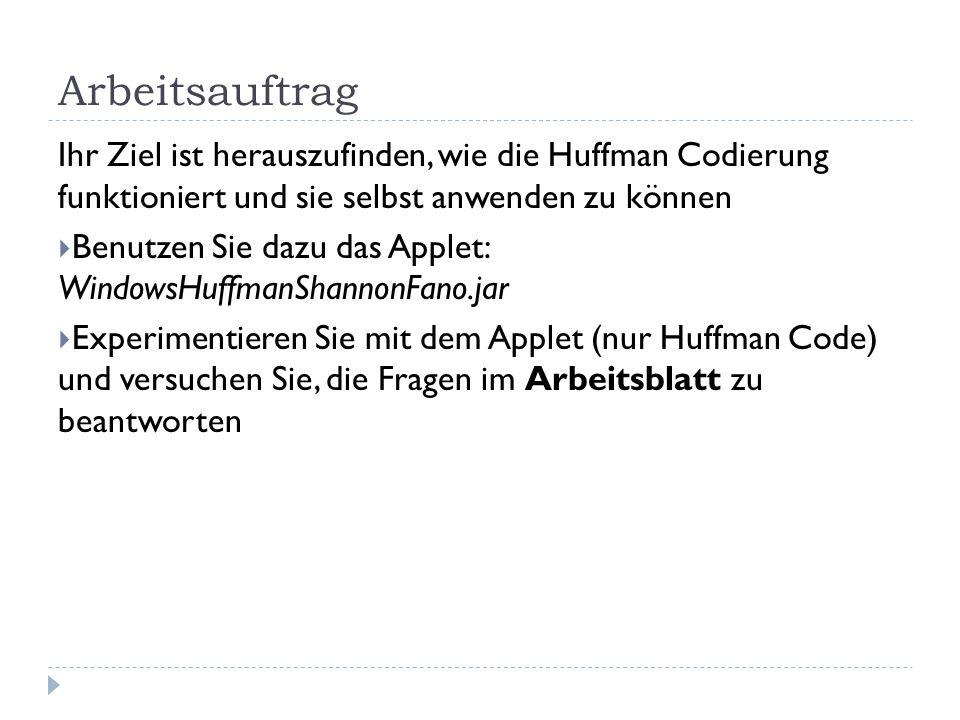 Arbeitsauftrag Ihr Ziel ist herauszufinden, wie die Huffman Codierung funktioniert und sie selbst anwenden zu können.