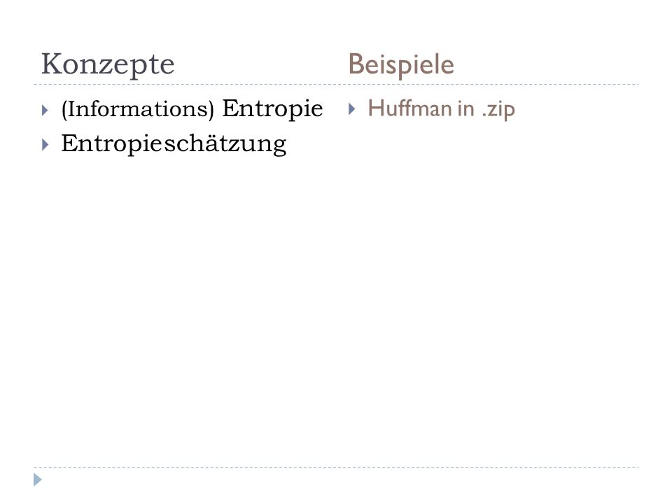 Konzepte Beispiele Huffman in .zip Entropieschätzung