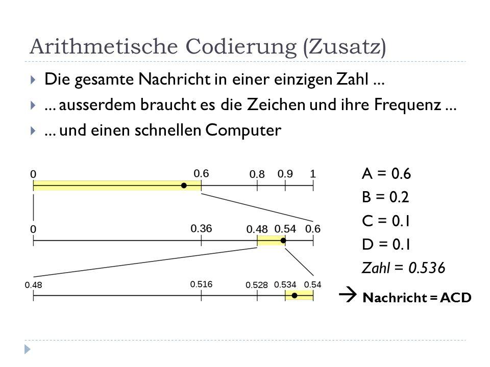 Arithmetische Codierung (Zusatz)