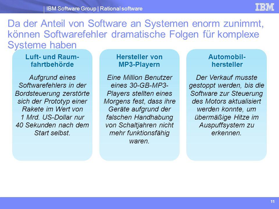 Da der Anteil von Software an Systemen enorm zunimmt, können Softwarefehler dramatische Folgen für komplexe Systeme haben