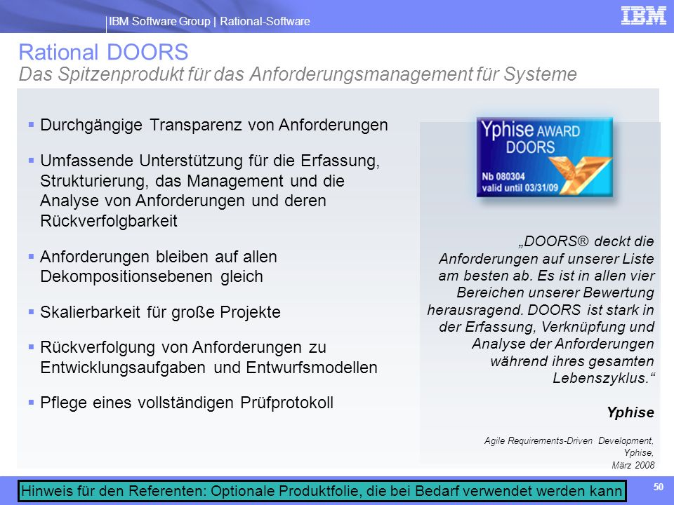 Rational DOORS Das Spitzenprodukt für das Anforderungsmanagement für Systeme