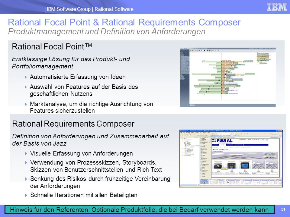 Rational Focal Point & Rational Requirements Composer Produktmanagement und Definition von Anforderungen