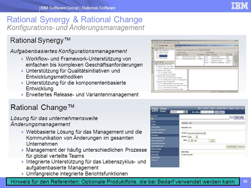 Rational Synergy & Rational Change Konfigurations- und Änderungsmanagement