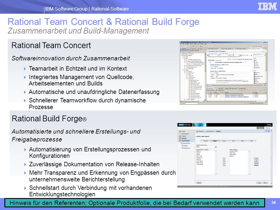 Rational Team Concert & Rational Build Forge Zusammenarbeit und Build-Management