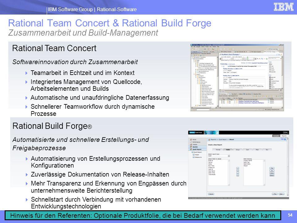 Rational Team Concert & Rational Build Forge Zusammenarbeit und Build-Management