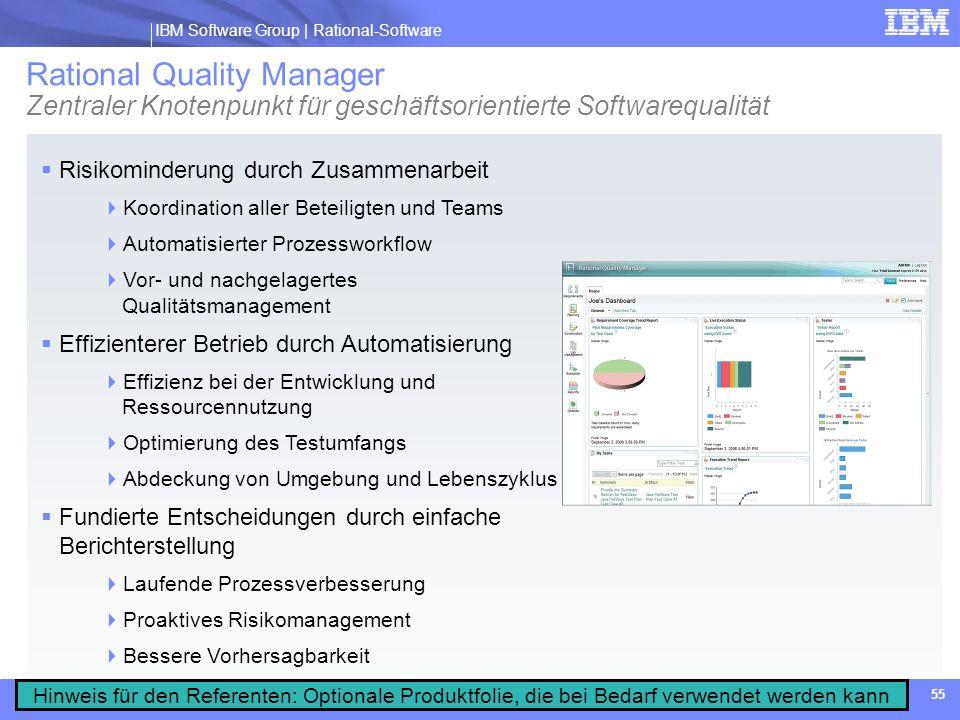 Rational Quality Manager Zentraler Knotenpunkt für geschäftsorientierte Softwarequalität