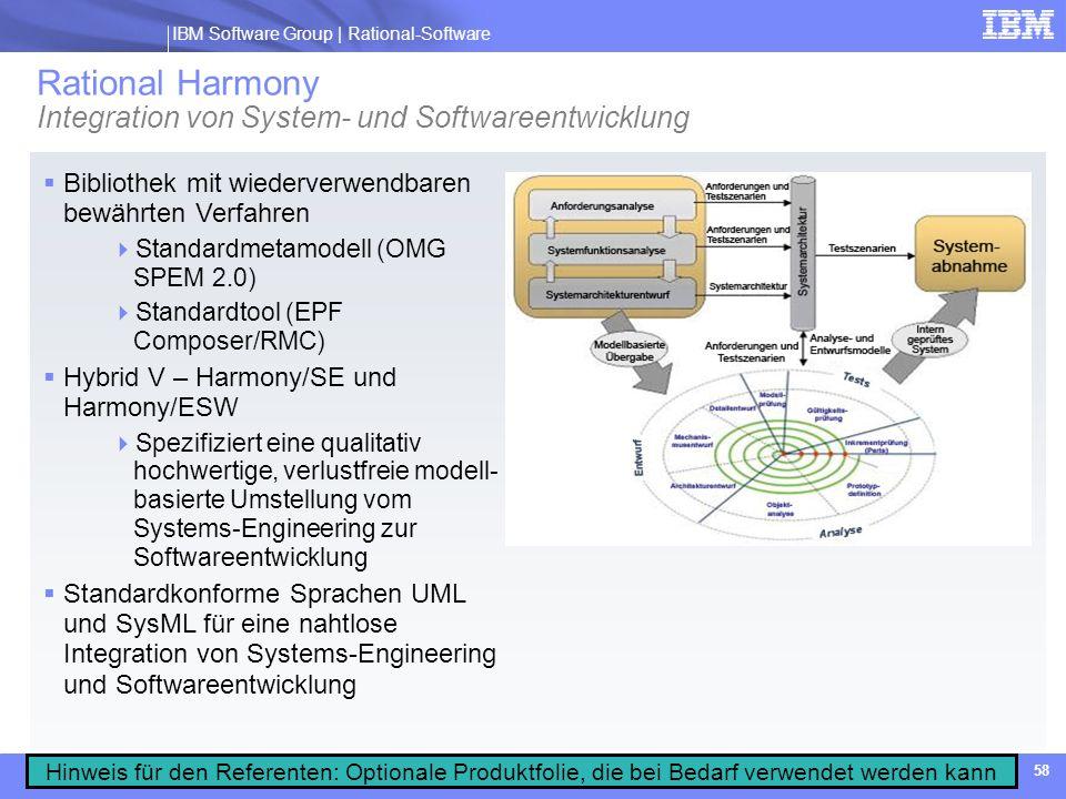 Rational Harmony Integration von System- und Softwareentwicklung