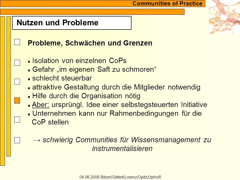 Nutzen und Probleme Probleme, Schwächen und Grenzen