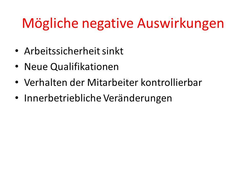 Mögliche negative Auswirkungen