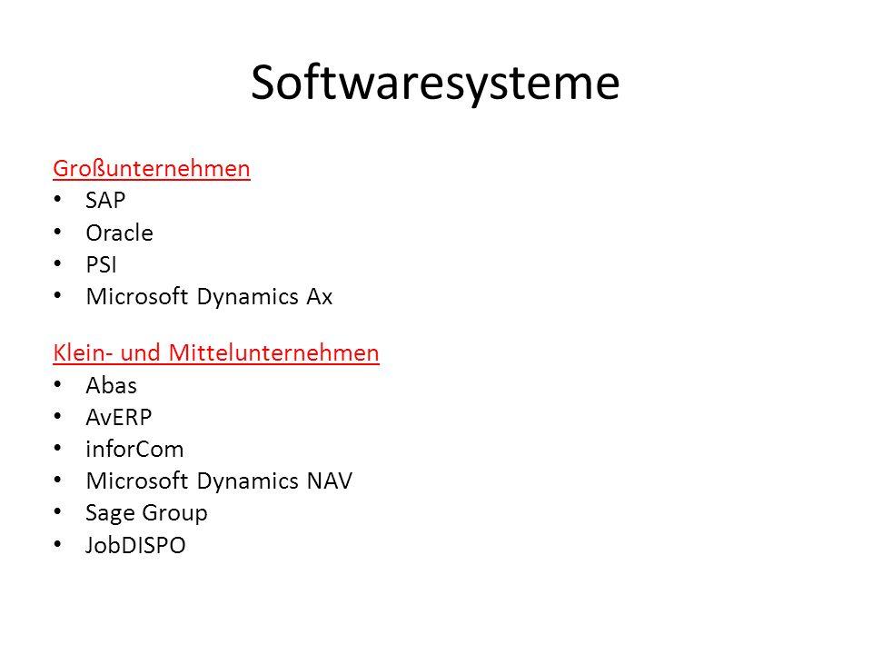 Softwaresysteme Großunternehmen SAP Oracle PSI Microsoft Dynamics Ax