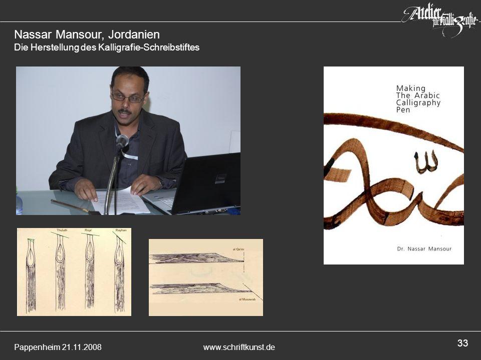 Nassar Mansour, Jordanien Die Herstellung des Kalligrafie-Schreibstiftes