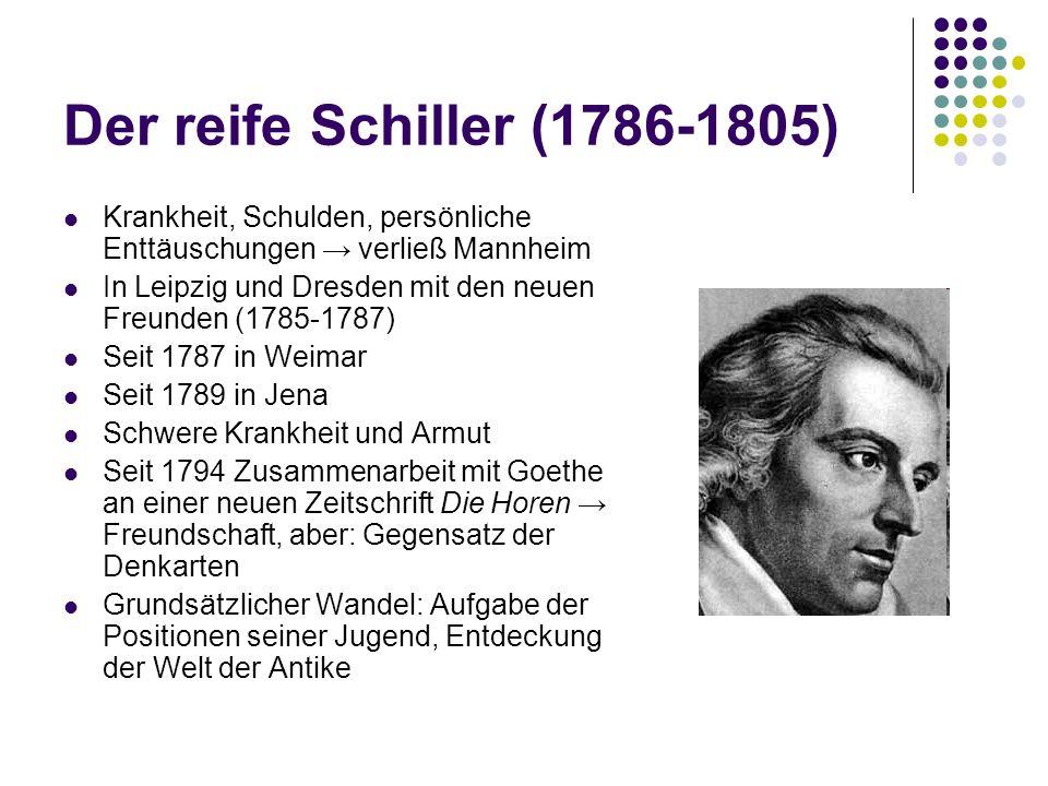 Der reife Schiller (1786-1805) Krankheit, Schulden, persönliche Enttäuschungen → verließ Mannheim.