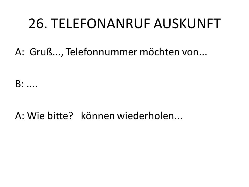 26. TELEFONANRUF AUSKUNFT