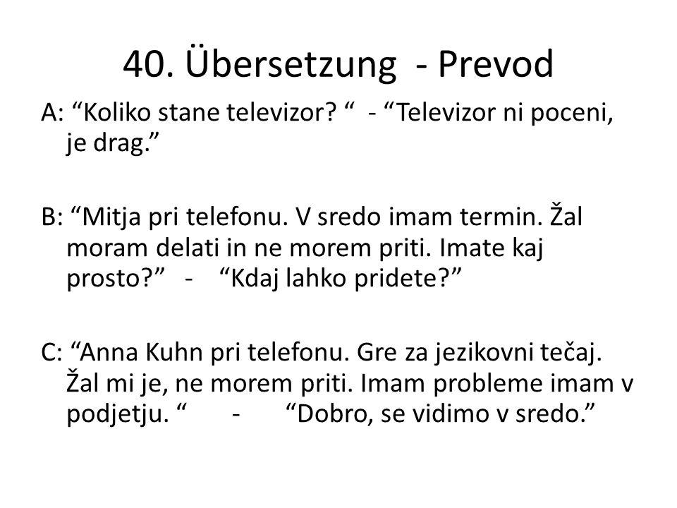 40. Übersetzung - Prevod