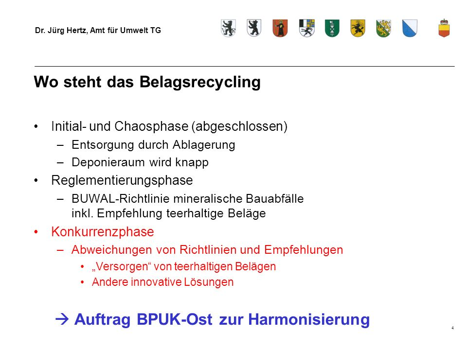 Wo steht das Belagsrecycling