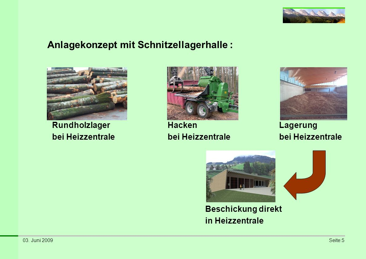 Anlagekonzept mit Schnitzellagerhalle :