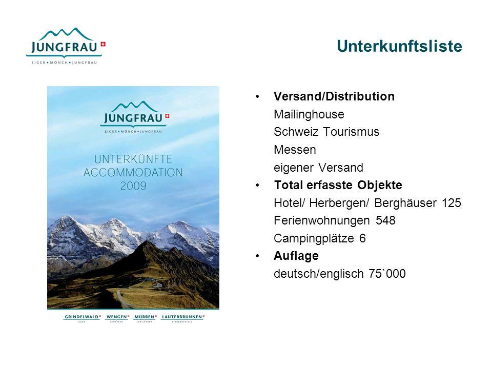 Unterkunftsliste Versand/Distribution Mailinghouse Schweiz Tourismus