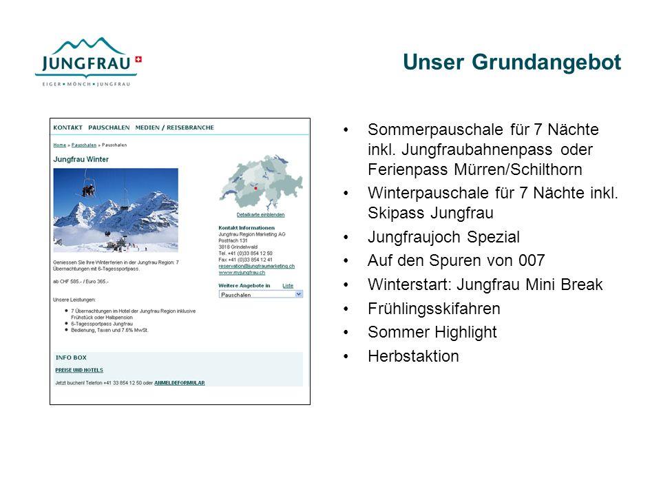 Unser Grundangebot Sommerpauschale für 7 Nächte inkl. Jungfraubahnenpass oder Ferienpass Mürren/Schilthorn.