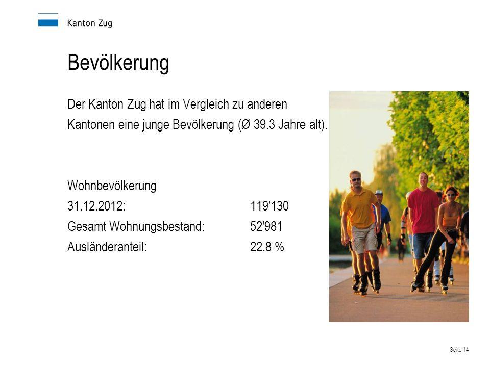 Bevölkerung Der Kanton Zug hat im Vergleich zu anderen Kantonen eine junge Bevölkerung (Ø 39.3 Jahre alt).
