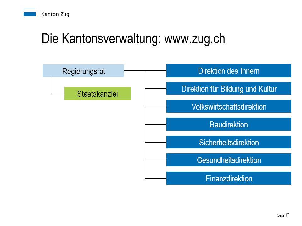 Die Kantonsverwaltung: www.zug.ch