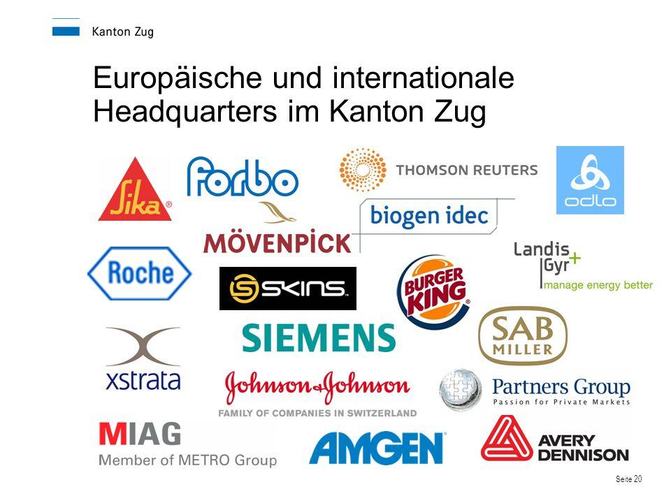 Europäische und internationale Headquarters im Kanton Zug