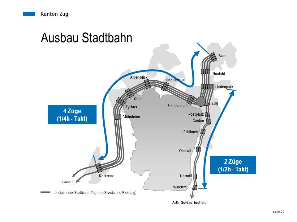 Ausbau Stadtbahn 4 Züge (1/4h - Takt) 2 Züge (1/2h - Takt) Baar