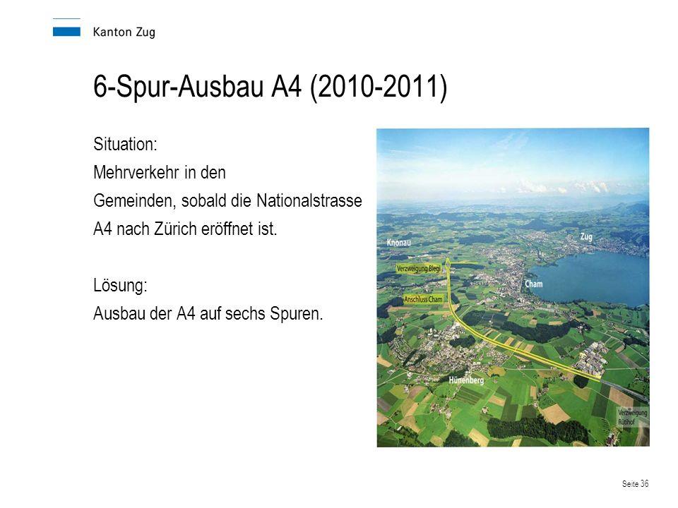6-Spur-Ausbau A4 (2010-2011) Situation: Mehrverkehr in den Gemeinden, sobald die Nationalstrasse A4 nach Zürich eröffnet ist.