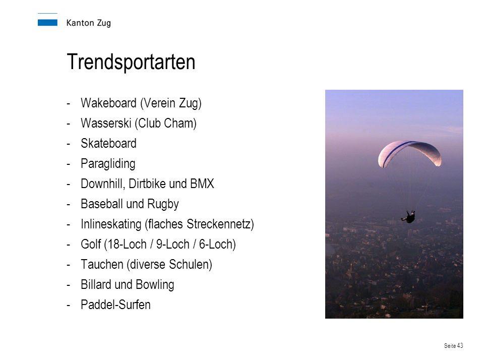 Trendsportarten Wakeboard (Verein Zug) Wasserski (Club Cham)