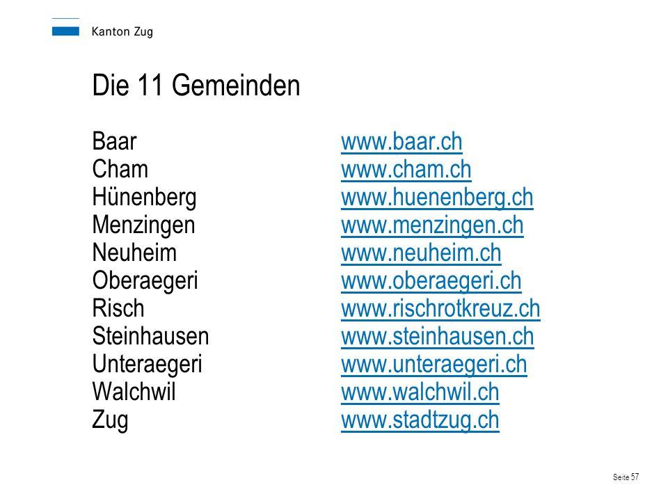Die 11 Gemeinden Baar www.baar.ch Cham www.cham.ch