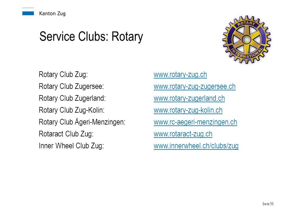 Service Clubs: Rotary Rotary Club Zug: www.rotary-zug.ch