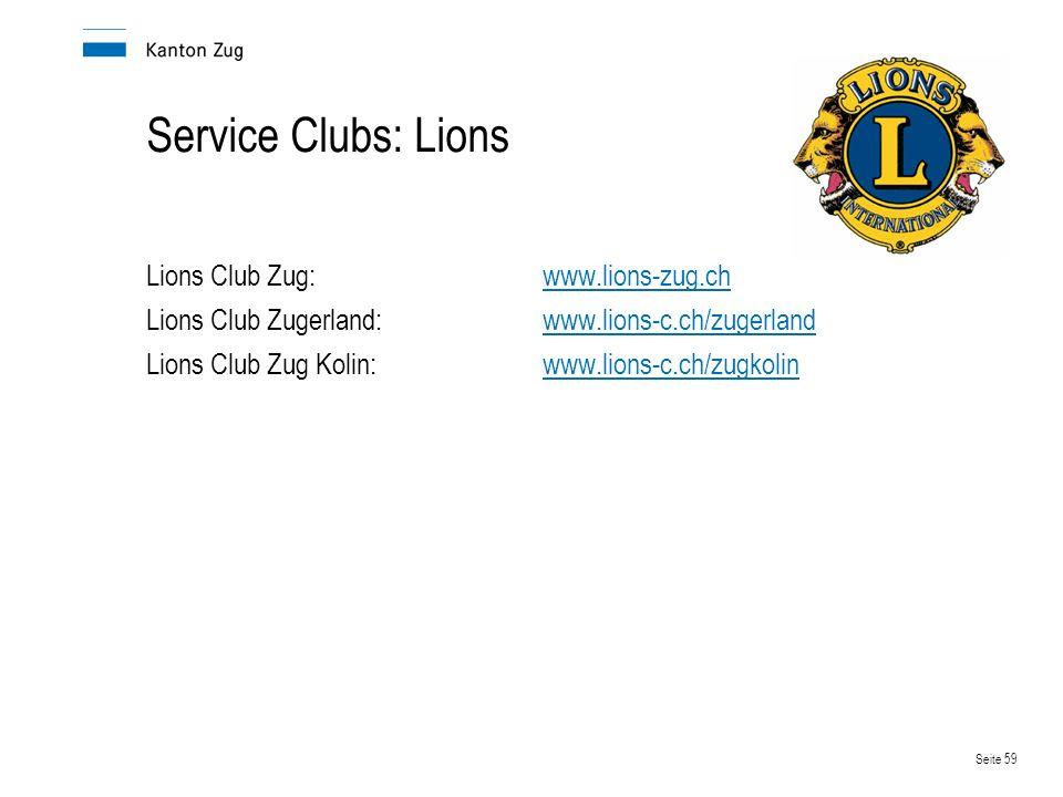 Service Clubs: Lions Lions Club Zug: www.lions-zug.ch