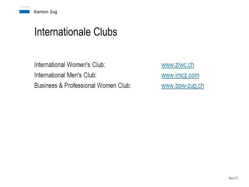 Internationale Clubs International Women s Club: www.ziwc.ch