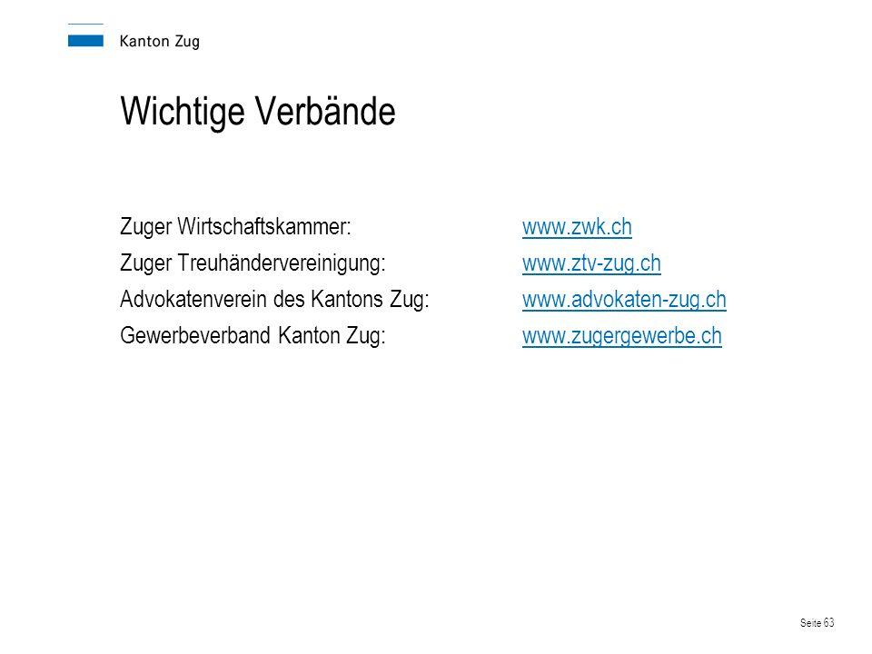 Wichtige Verbände Zuger Wirtschaftskammer: www.zwk.ch