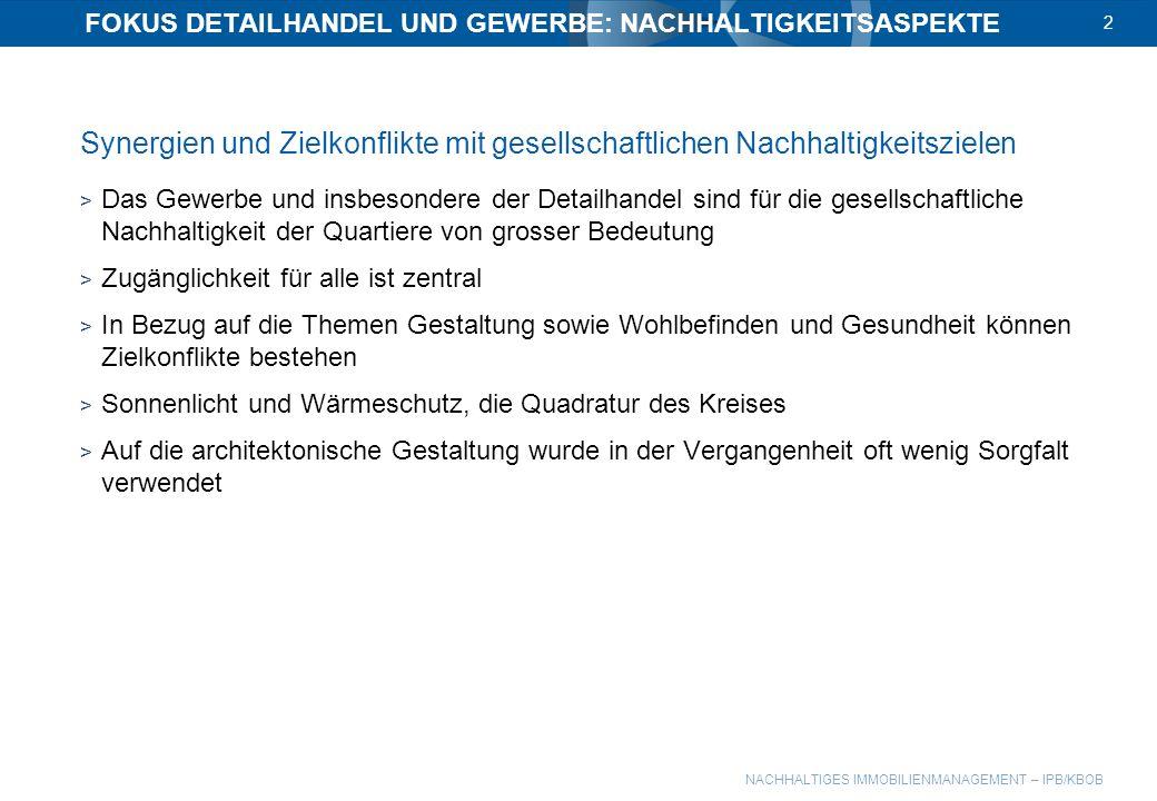 FOKUS DETAILHANDEL UND GEWERBE: NACHHALTIGKEITSASPEKTE