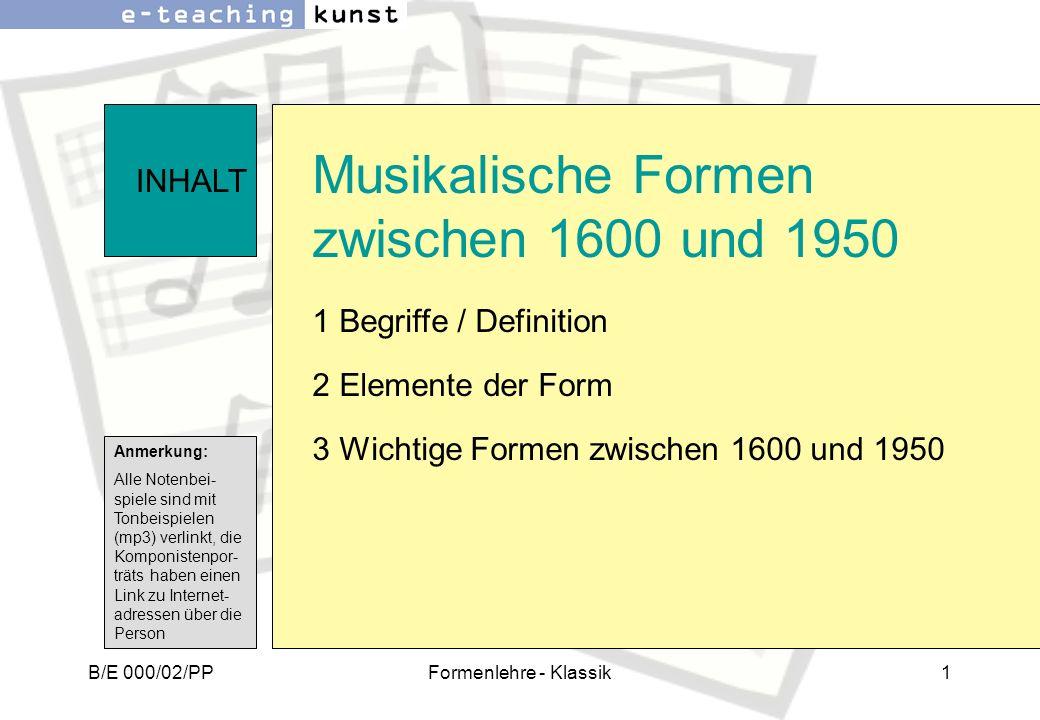 Musikalische Formen zwischen 1600 und 1950
