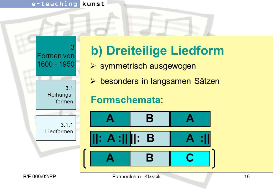 b) Dreiteilige Liedform