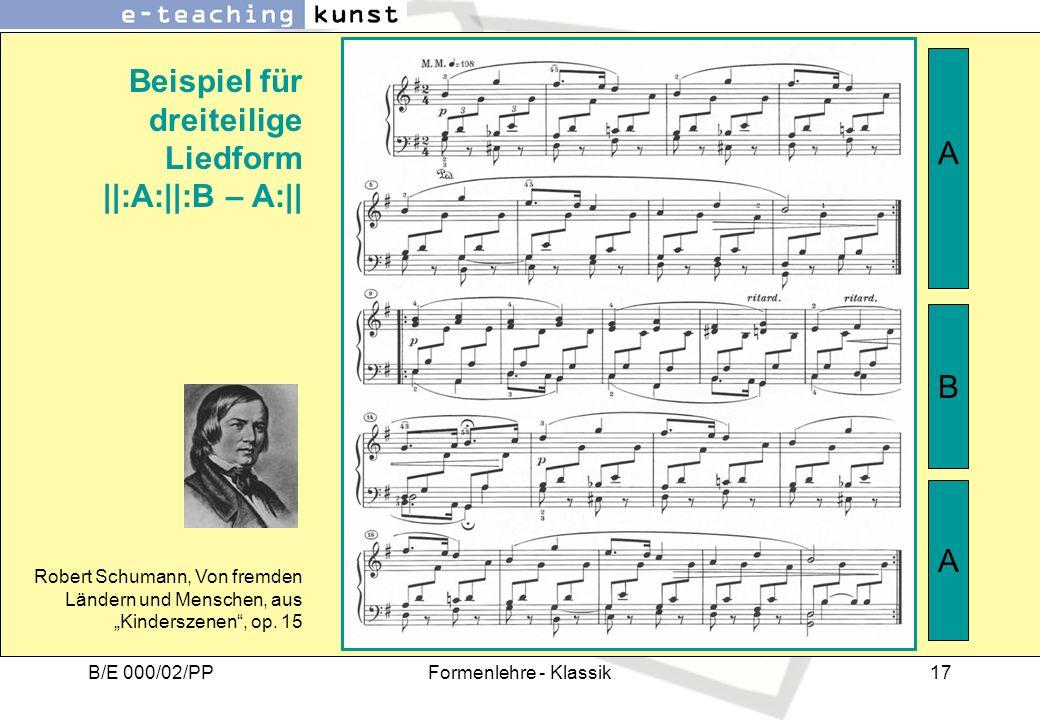Beispiel für dreiteilige Liedform ||:A:||:B – A:||