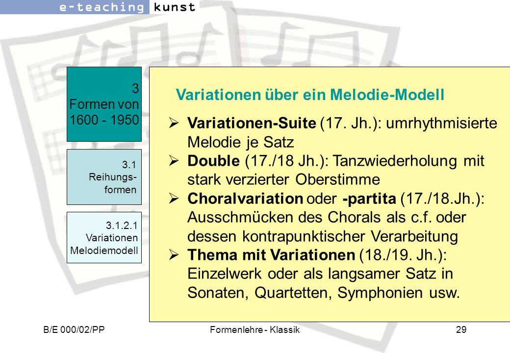 Variationen-Suite (17. Jh.): umrhythmisierte Melodie je Satz