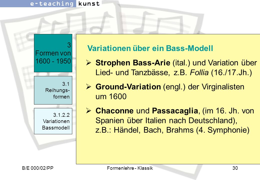 Ground-Variation (engl.) der Virginalisten um 1600