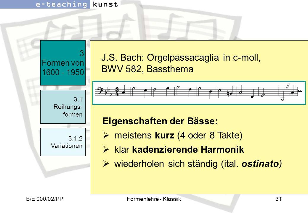 J.S. Bach: Orgelpassacaglia in c-moll, BWV 582, Bassthema
