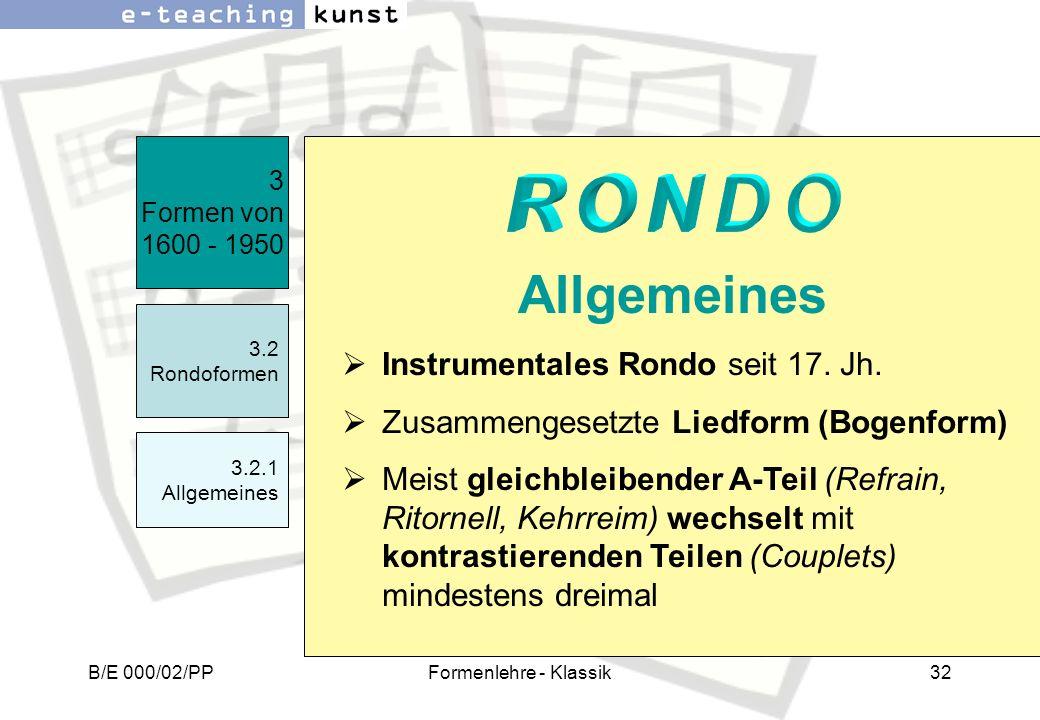 Allgemeines RONDO Instrumentales Rondo seit 17. Jh.
