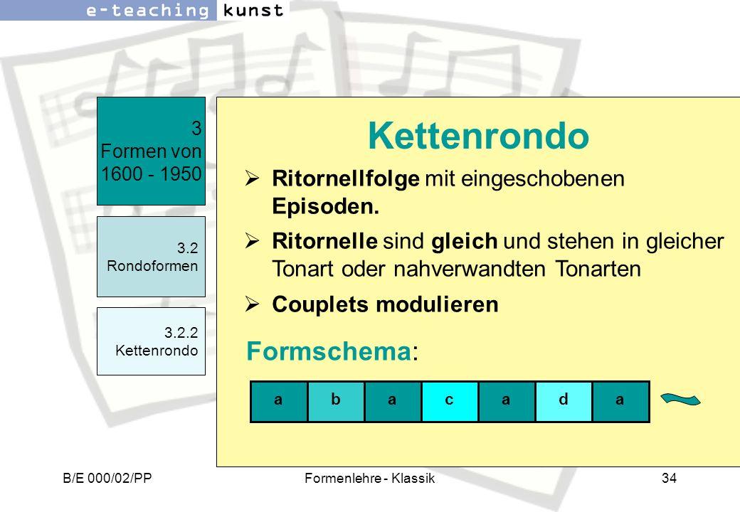 Kettenrondo Formschema: Ritornellfolge mit eingeschobenen Episoden.