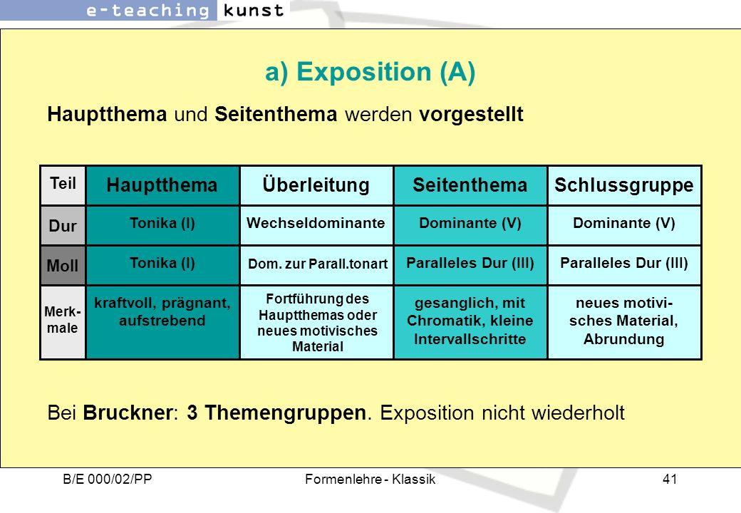 a) Exposition (A) Hauptthema und Seitenthema werden vorgestellt