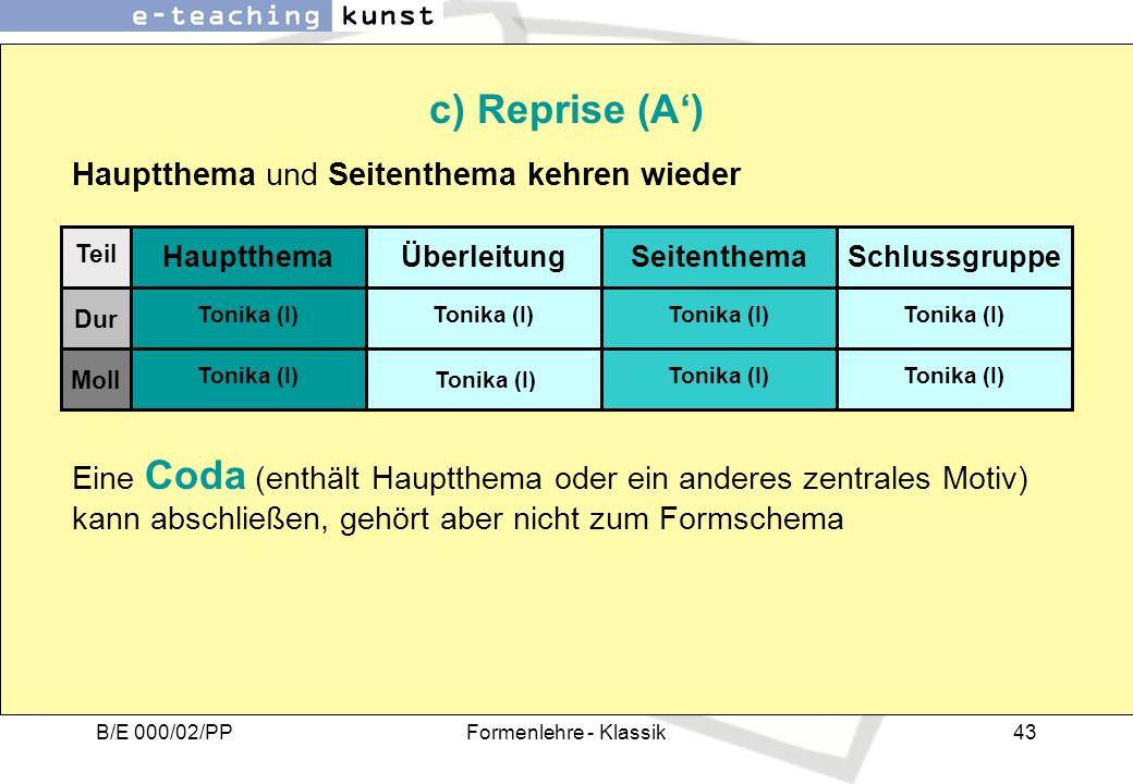 c) Reprise (A') Hauptthema und Seitenthema kehren wieder