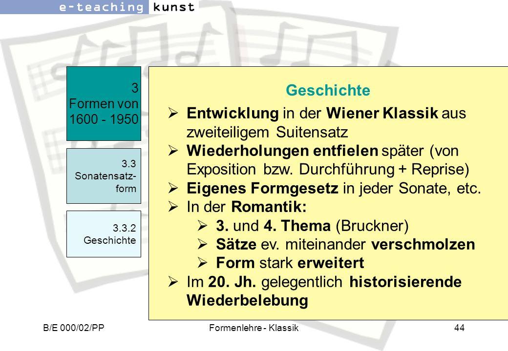 Entwicklung in der Wiener Klassik aus zweiteiligem Suitensatz