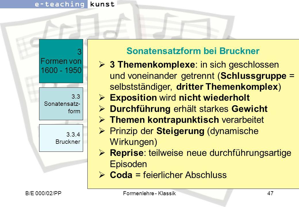 Sonatensatzform bei Bruckner