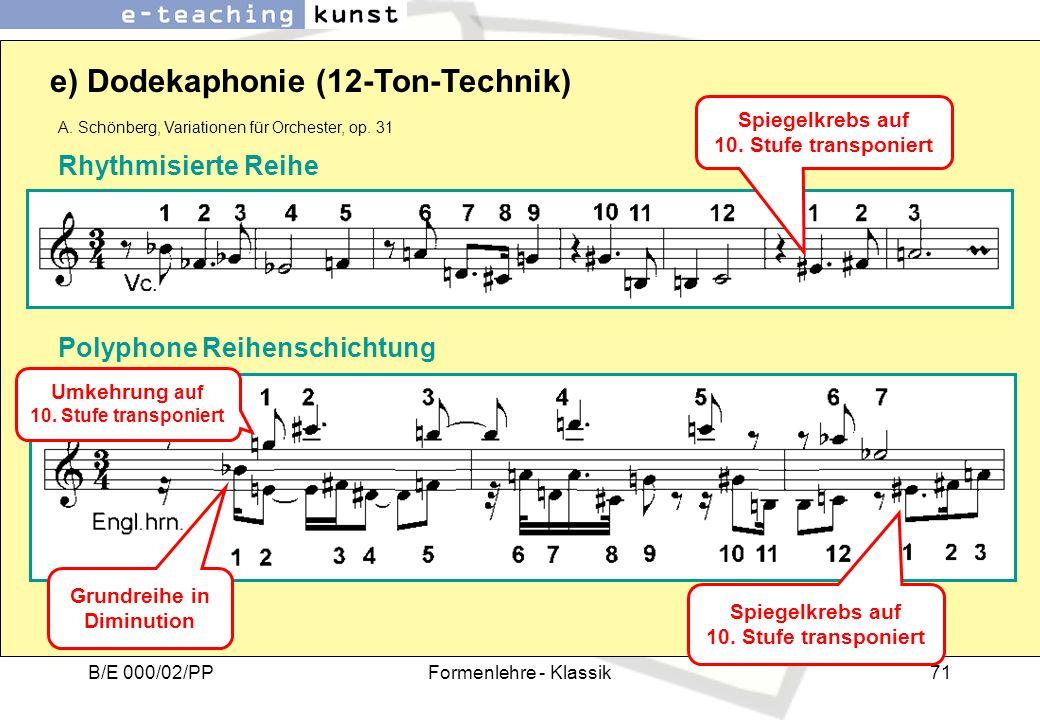 e) Dodekaphonie (12-Ton-Technik)